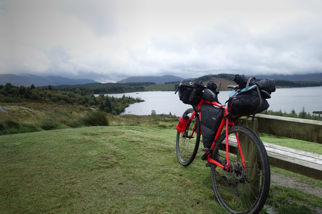 Thompson R9300 and Alpkit luggage in front of Loch Riecawr
